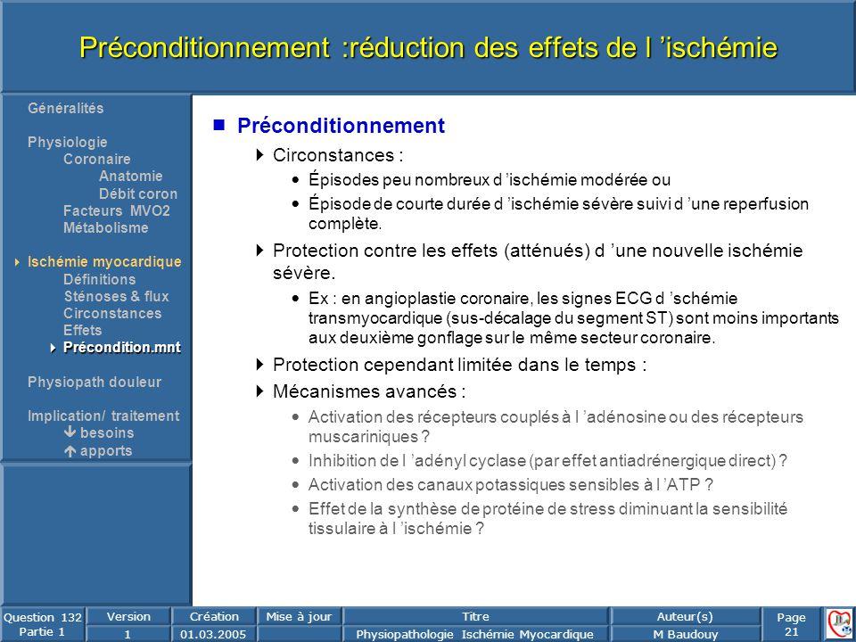 Page 21 Question 132 Partie 1 VersionCréationMise à jourTitreAuteur(s) 101.03.2005Physiopathologie Ischémie MyocardiqueM Baudouy Préconditionnement :r