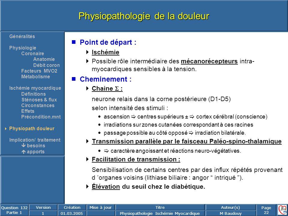 Page 22 Question 132 Partie 1 VersionCréationMise à jourTitreAuteur(s) 101.03.2005Physiopathologie Ischémie MyocardiqueM Baudouy Physiopathologie de l