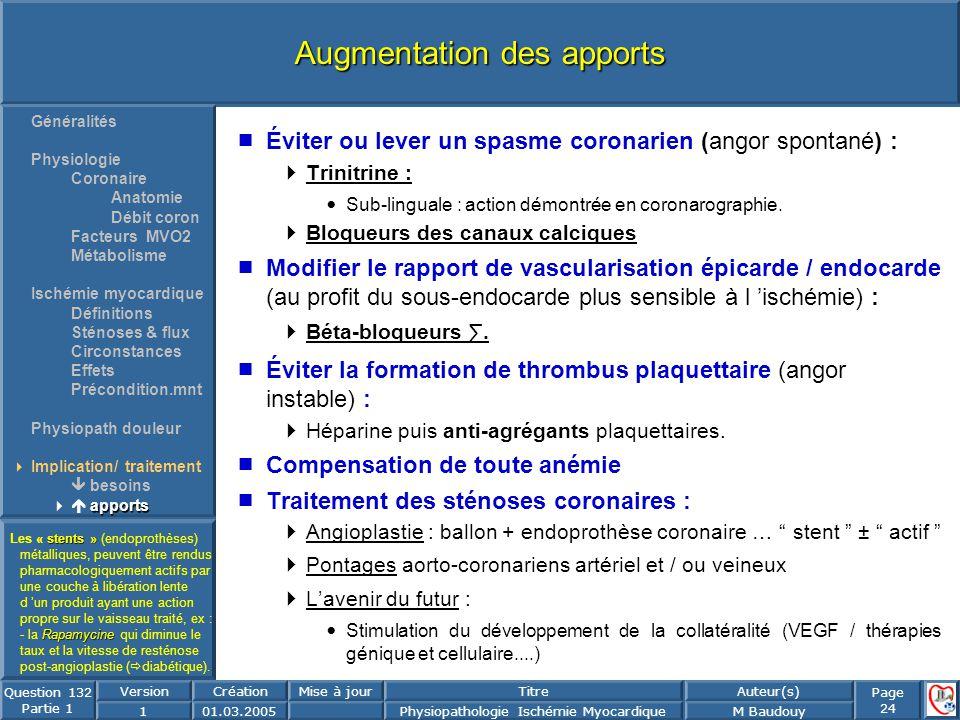 Page 24 Question 132 Partie 1 VersionCréationMise à jourTitreAuteur(s) 101.03.2005Physiopathologie Ischémie MyocardiqueM Baudouy Augmentation des appo
