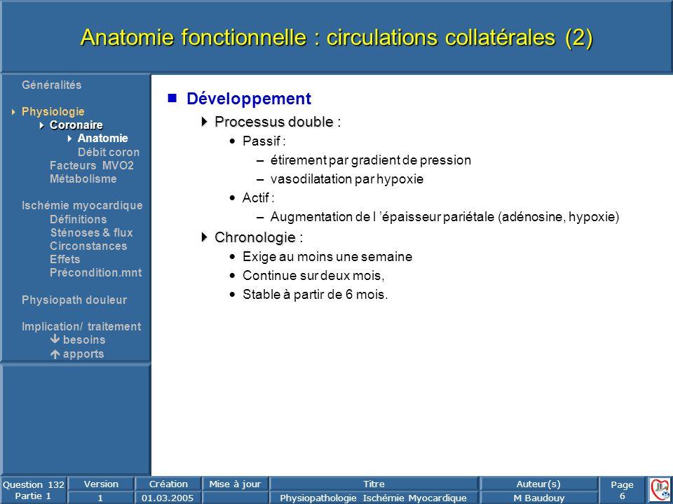 Page 6 Question 132 Partie 1 VersionCréationMise à jourTitreAuteur(s) 101.03.2005Physiopathologie Ischémie MyocardiqueM Baudouy Anatomie fonctionnelle