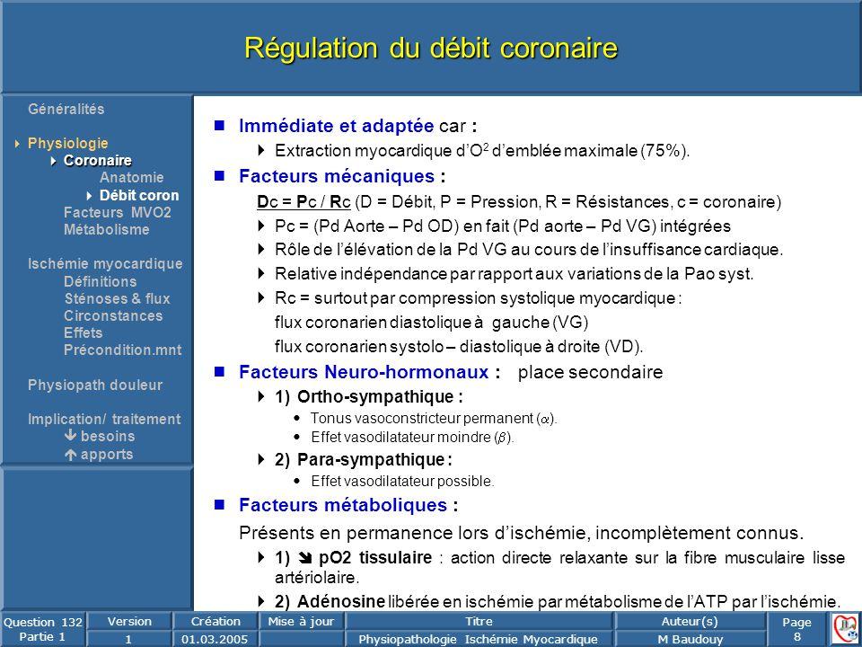 Page 8 Question 132 Partie 1 VersionCréationMise à jourTitreAuteur(s) 101.03.2005Physiopathologie Ischémie MyocardiqueM Baudouy Régulation du débit co