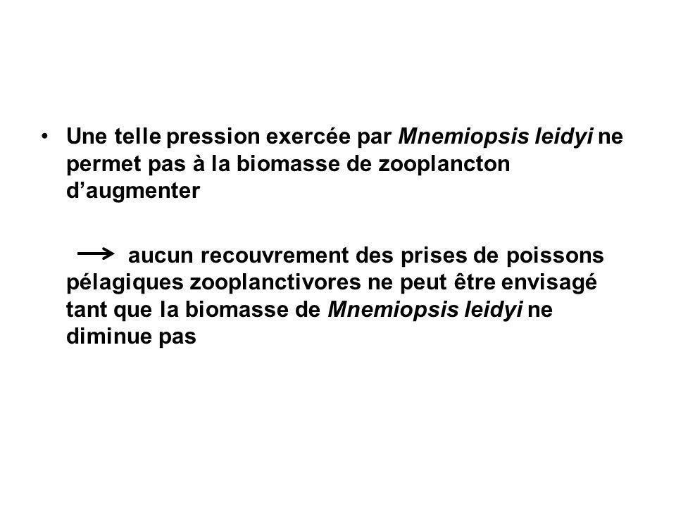 Une telle pression exercée par Mnemiopsis leidyi ne permet pas à la biomasse de zooplancton daugmenter aucun recouvrement des prises de poissons pélagiques zooplanctivores ne peut être envisagé tant que la biomasse de Mnemiopsis leidyi ne diminue pas