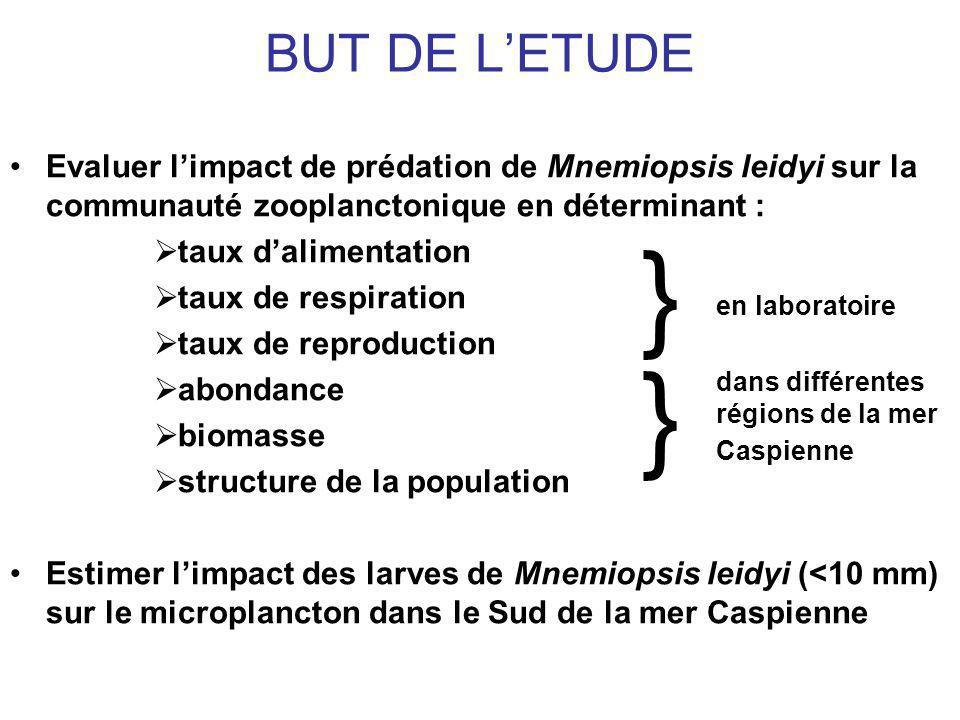 BUT DE LETUDE Evaluer limpact de prédation de Mnemiopsis leidyi sur la communauté zooplanctonique en déterminant : taux dalimentation taux de respiration taux de reproduction abondance biomasse structure de la population Estimer limpact des larves de Mnemiopsis leidyi (<10 mm) sur le microplancton dans le Sud de la mer Caspienne } en laboratoire } dans différentes régions de la mer Caspienne