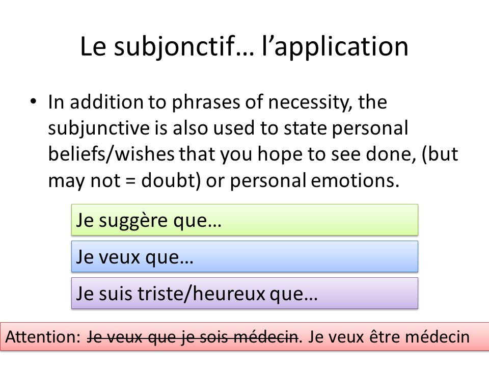 Le subjonctif… lapplication In addition to phrases of necessity, the subjunctive is also used to state personal beliefs/wishes that you hope to see do