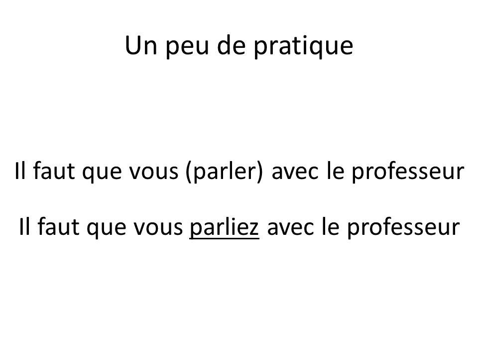 Un peu de pratique Il faut que vous (parler) avec le professeur Il faut que vous parliez avec le professeur
