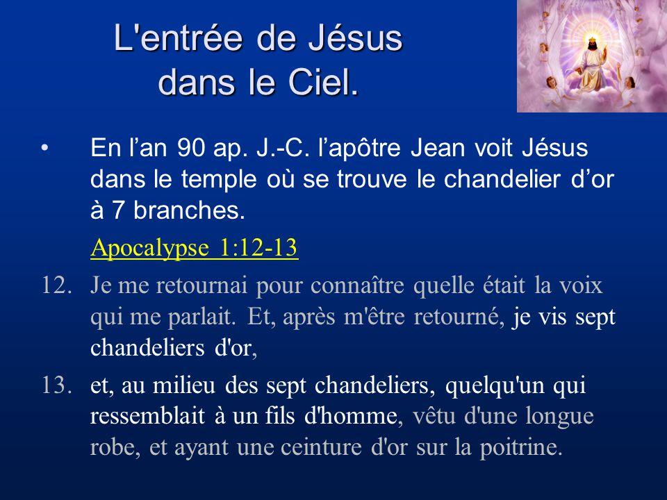 L'entrée de Jésus dans le Ciel. En lan 90 ap. J.-C. lapôtre Jean voit Jésus dans le temple où se trouve le chandelier dor à 7 branches. Apocalypse 1:1