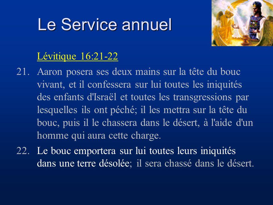 Le Service annuel Lévitique 16:21-22 21.Aaron posera ses deux mains sur la tête du bouc vivant, et il confessera sur lui toutes les iniquités des enfa
