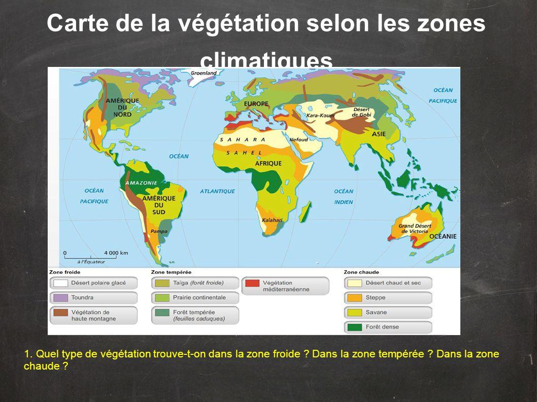 Type de végétation selon le climat 2.Y a-t-il de la végétation dans les déserts .
