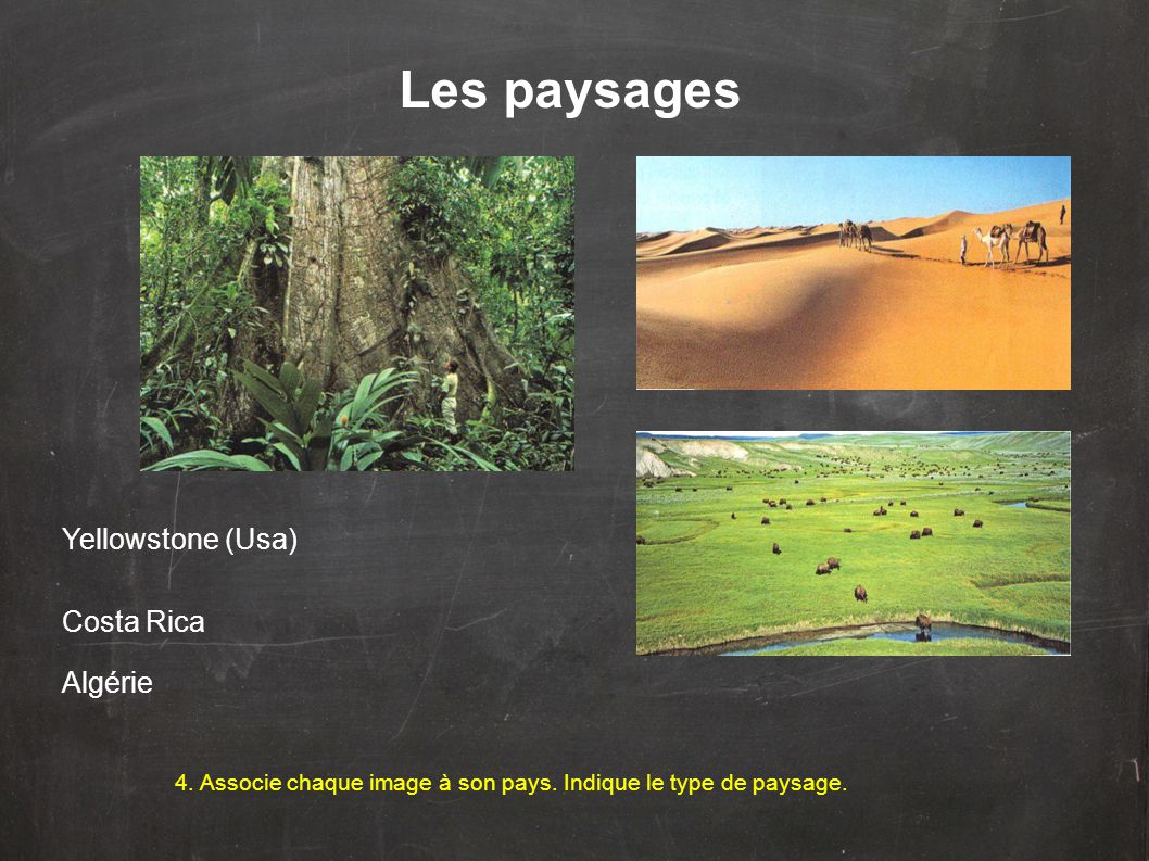 Les paysages 4.Associe chaque image à son pays. Indique le type de paysage.