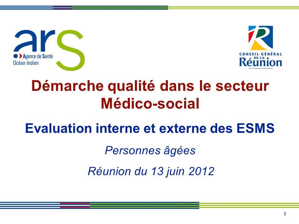 1 Démarche qualité dans le secteur Médico-social Evaluation interne et externe des ESMS Personnes âgées Réunion du 13 juin 2012