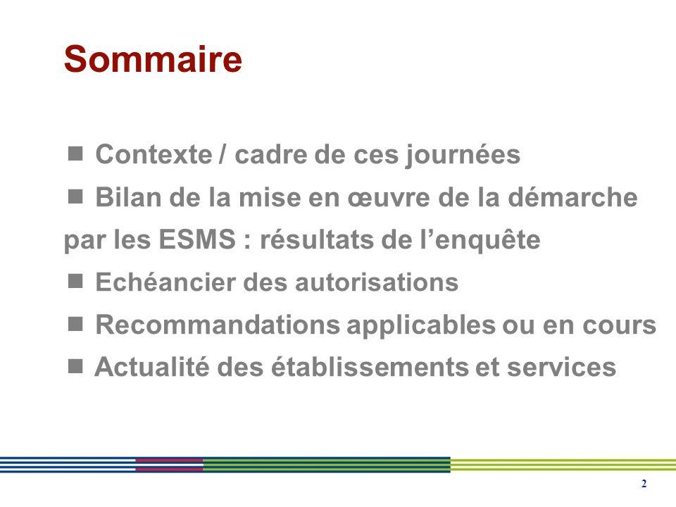 2 Sommaire Contexte / cadre de ces journées Bilan de la mise en œuvre de la démarche par les ESMS : résultats de lenquête Echéancier des autorisations Recommandations applicables ou en cours Actualité des établissements et services