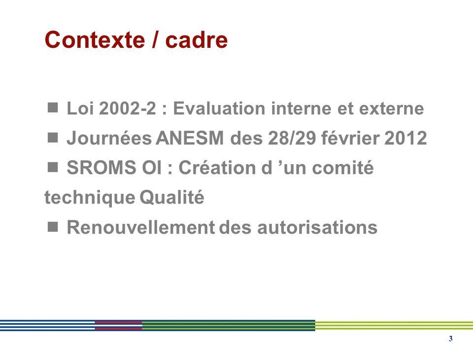 3 Contexte / cadre Loi 2002-2 : Evaluation interne et externe Journées ANESM des 28/29 février 2012 SROMS OI : Création d un comité technique Qualité Renouvellement des autorisations