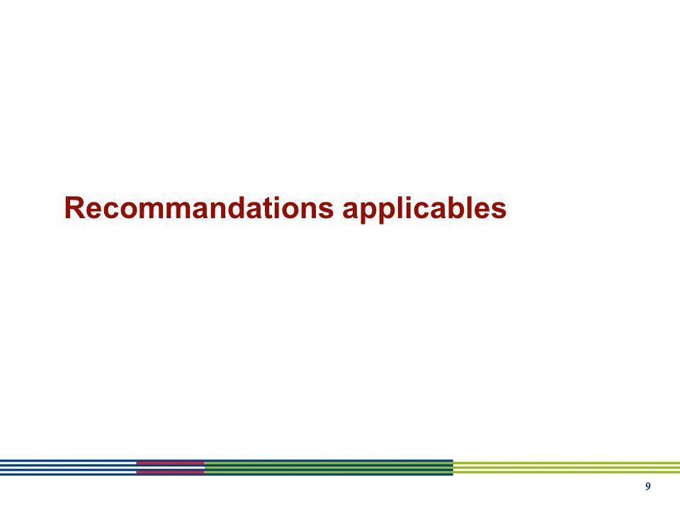9 Recommandations applicables