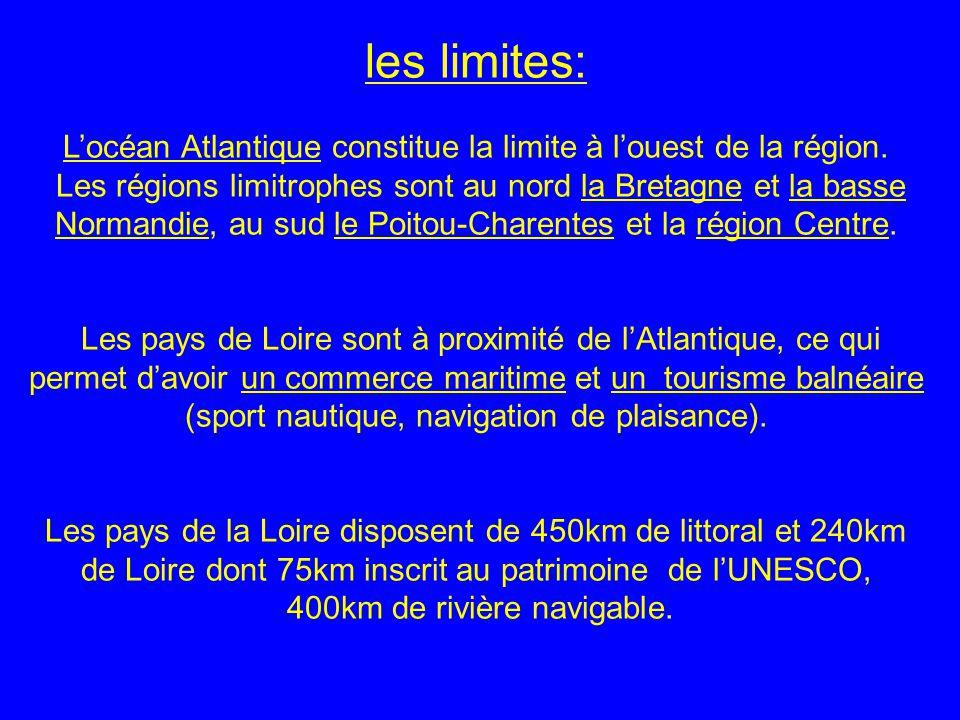 les limites: Locéan Atlantique constitue la limite à louest de la région. Les régions limitrophes sont au nord la Bretagne et la basse Normandie, au s