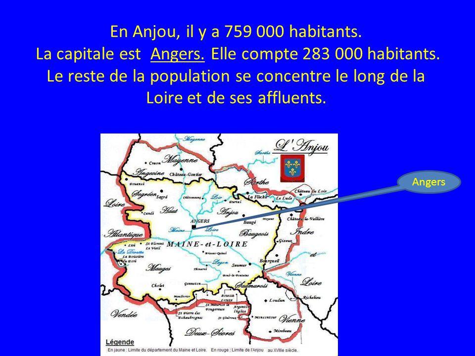 En Anjou, il y a 759 000 habitants. La capitale est Angers. Elle compte 283 000 habitants. Le reste de la population se concentre le long de la Loire