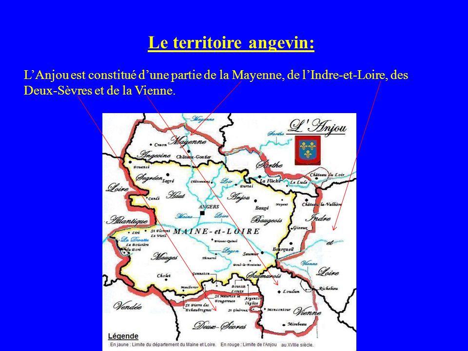 Le territoire angevin: LAnjou est constitué dune partie de la Mayenne, de lIndre-et-Loire, des Deux-Sèvres et de la Vienne.