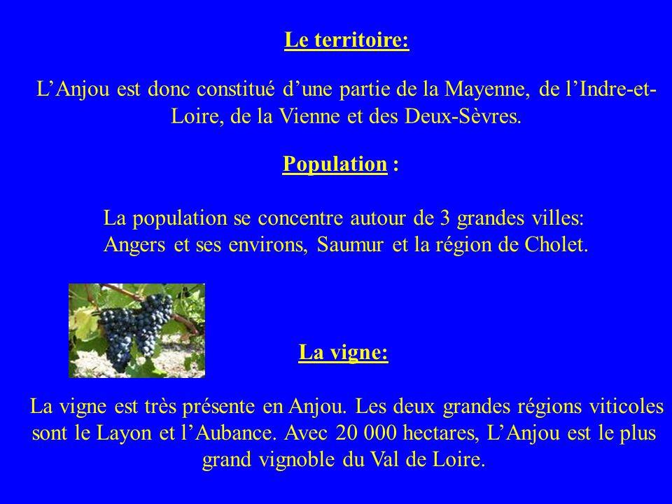 Le territoire: LAnjou est donc constitué dune partie de la Mayenne, de lIndre-et- Loire, de la Vienne et des Deux-Sèvres. Population : La population s