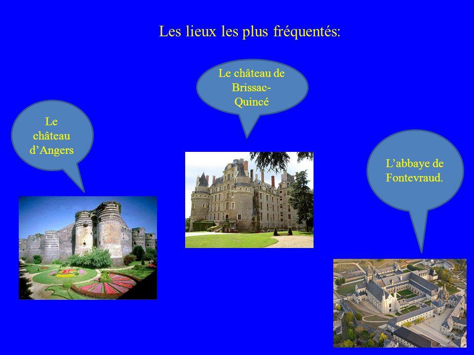 Le château dAngers Le château de Brissac- Quincé Labbaye de Fontevraud. Les lieux les plus fréquentés: