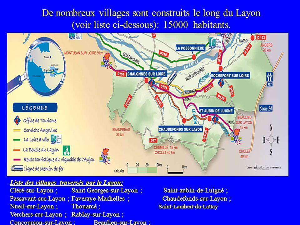 De nombreux villages sont construits le long du Layon (voir liste ci-dessous): 15000 habitants. Liste des villages traversés par le Layon: Cléré-sur-L