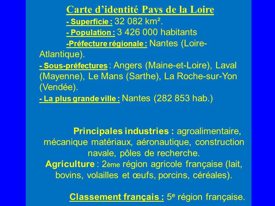Carte didentité Pays de la Loire - Superficie : 32 082 km². - Population : 3 426 000 habitants -Préfecture régionale : Nantes (Loire- Atlantique). - S