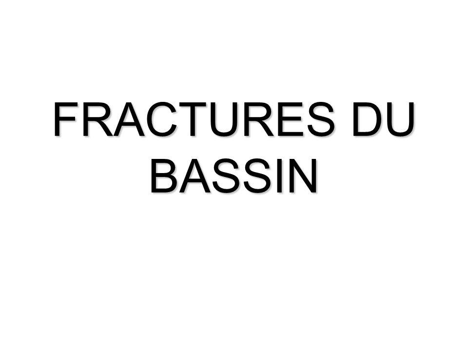 GENERALITES Il existe des fractures stables et des fractures instables fractures stables, de diagnostic facile sur des clichés standard - fracture de laile iliaque - fracture transverse de la partie inférieure du sacrum - fracture dune branche du cadre obturateur - fracture du pubis et/ou du cadre obturateur unilatérale non déplacée fractures instables, souvent associées à des lésions viscérales - disjonction pubienne avec fracture sacro-iliaque - fracture de larche antérieure avec fracture bilatérale du cadre obturateur déplacée - fracture verticale du cadre obturateur en avant et de laile iliaque en arrière (fracture de Malgaigne) - fracture complexe par écrasement latéral avec bascule du cotyle