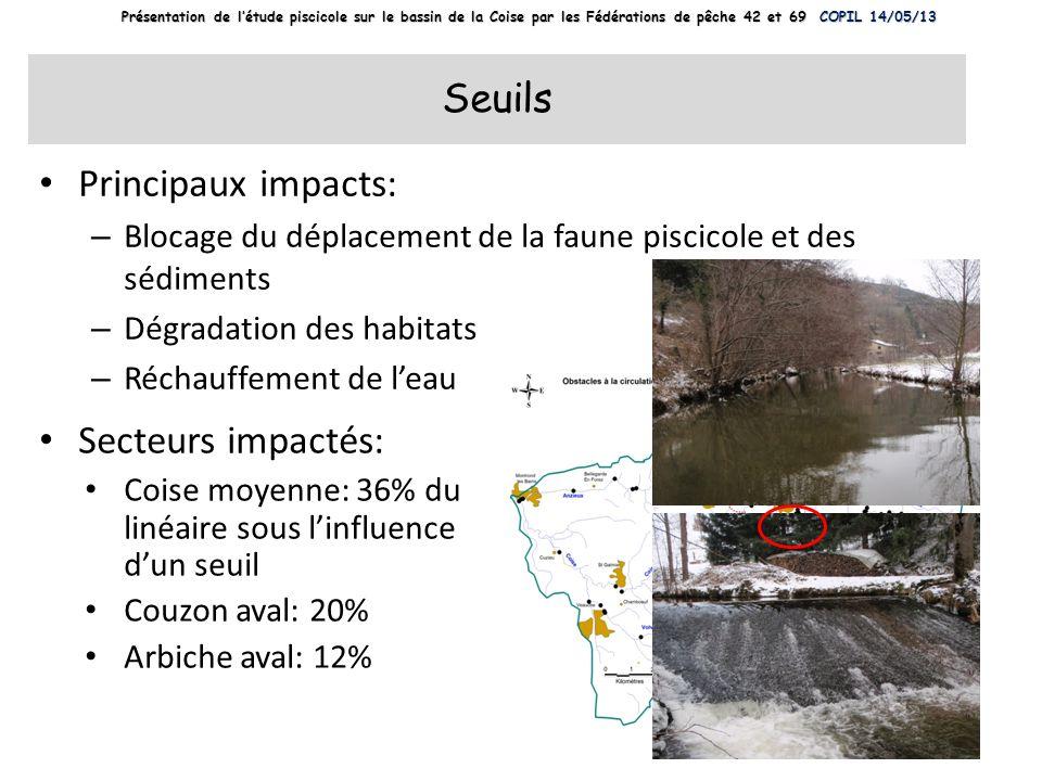 Seuils Principaux impacts: – Blocage du déplacement de la faune piscicole et des sédiments – Dégradation des habitats – Réchauffement de leau Secteurs