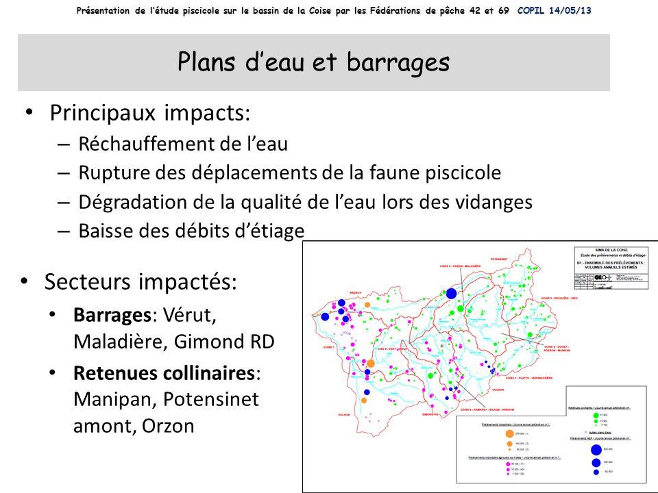 Plans deau et barrages Principaux impacts: – Réchauffement de leau – Rupture des déplacements de la faune piscicole – Dégradation de la qualité de lea