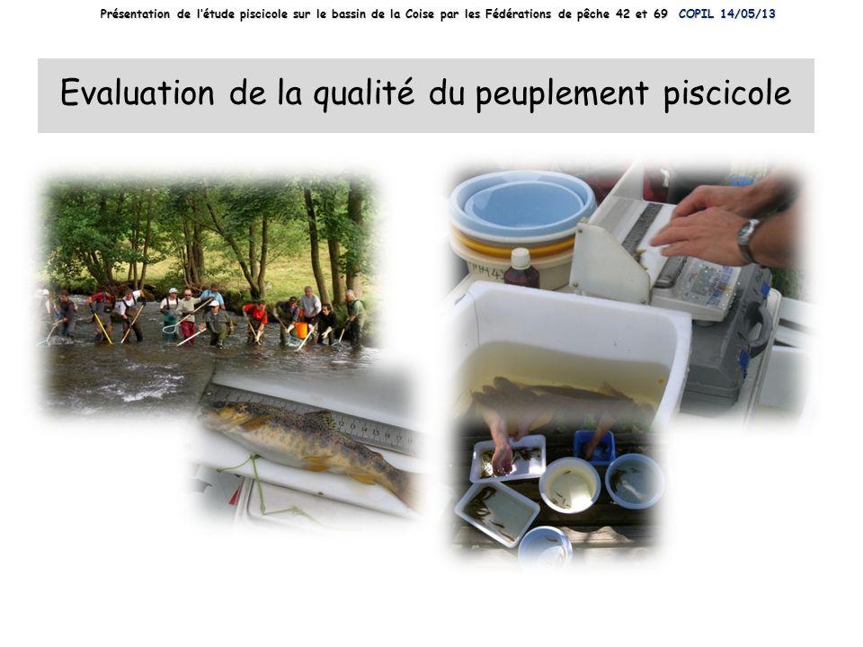Evaluation de la qualité du peuplement piscicole Présentation de létude piscicole sur le bassin de la Coise par les Fédérations de pêche 42 et 69 COPI