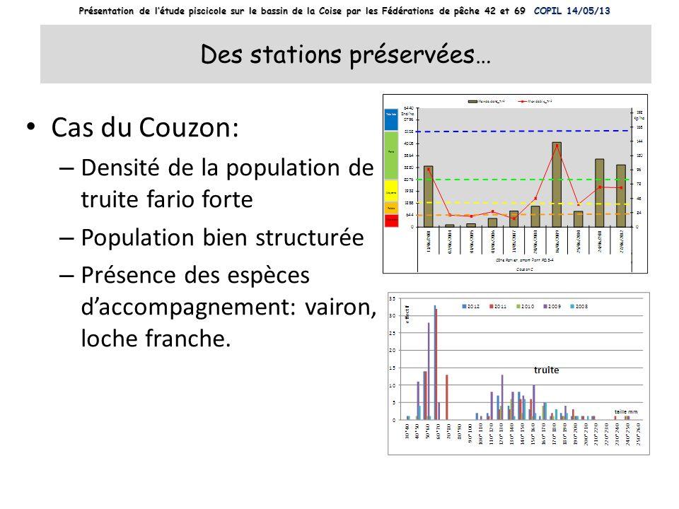 Des stations préservées… Cas du Couzon: – Densité de la population de truite fario forte – Population bien structurée – Présence des espèces daccompag