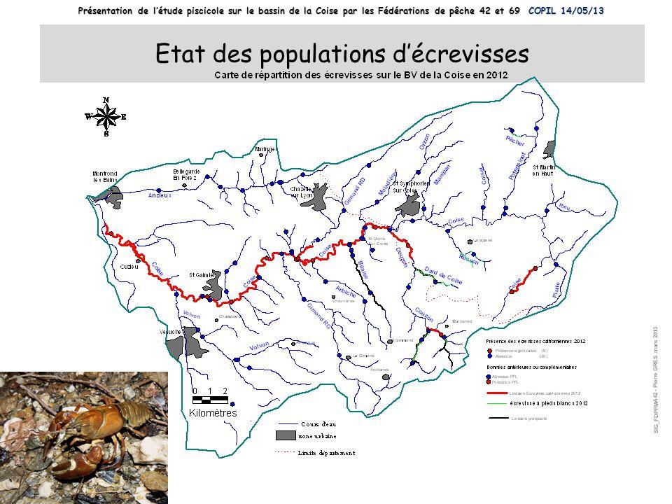 Etat des populations décrevisses Présentation de létude piscicole sur le bassin de la Coise par les Fédérations de pêche 42 et 69 COPIL 14/05/13