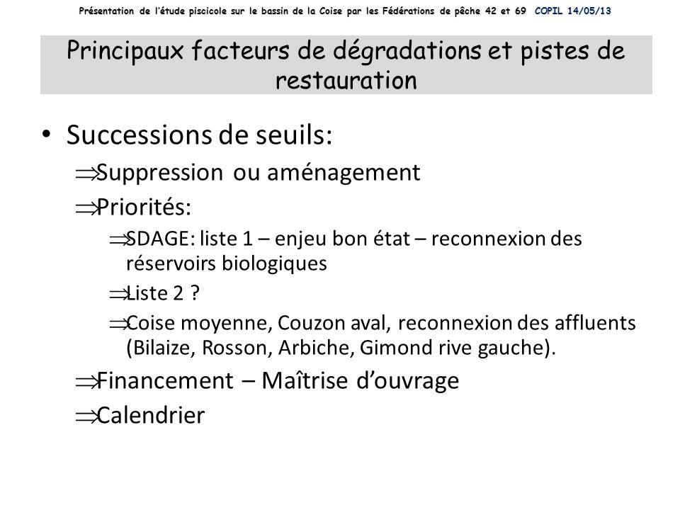 Principaux facteurs de dégradations et pistes de restauration Successions de seuils: Suppression ou aménagement Priorités: SDAGE: liste 1 – enjeu bon