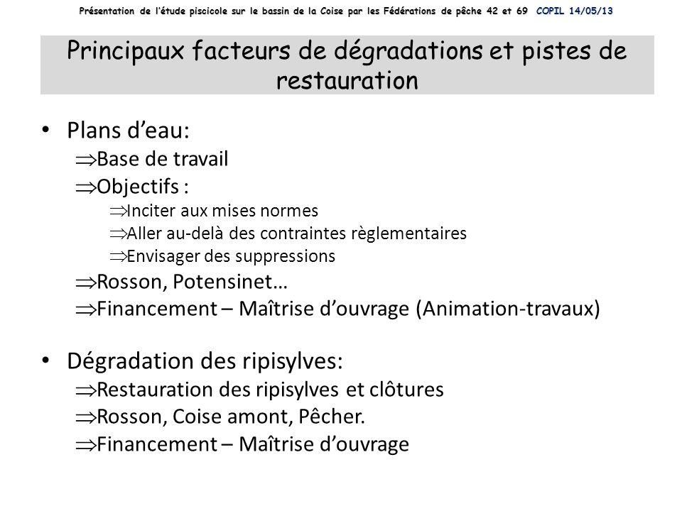 Principaux facteurs de dégradations et pistes de restauration Plans deau: Base de travail Objectifs : Inciter aux mises normes Aller au-delà des contr