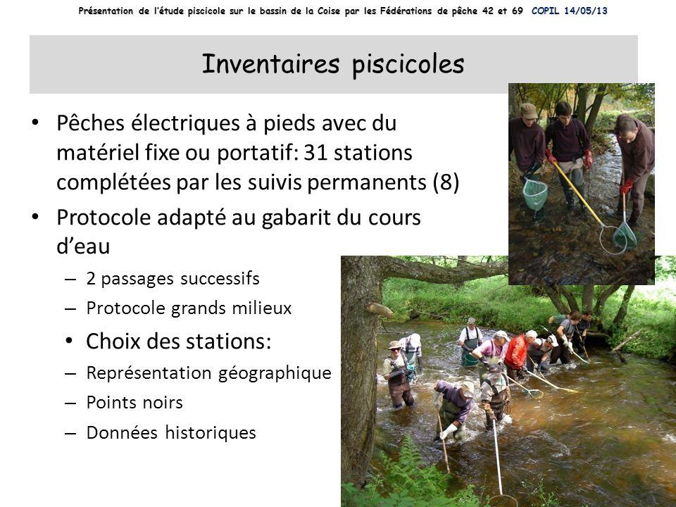Inventaires piscicoles Pêches électriques à pieds avec du matériel fixe ou portatif: 31 stations complétées par les suivis permanents (8) Protocole ad