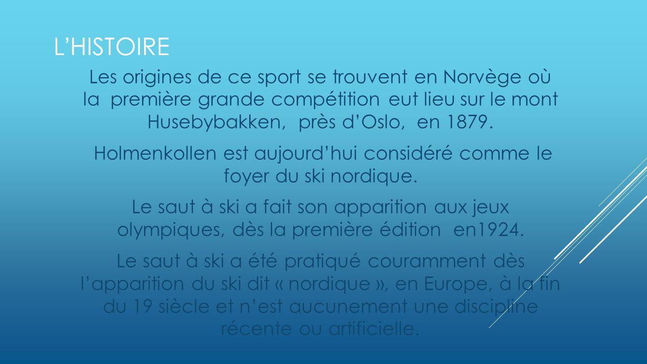 LHISTOIRE Les origines de ce sport se trouvent en Norvège où la première grande compétition eut lieu sur le mont Husebybakken, près dOslo, en 1879.