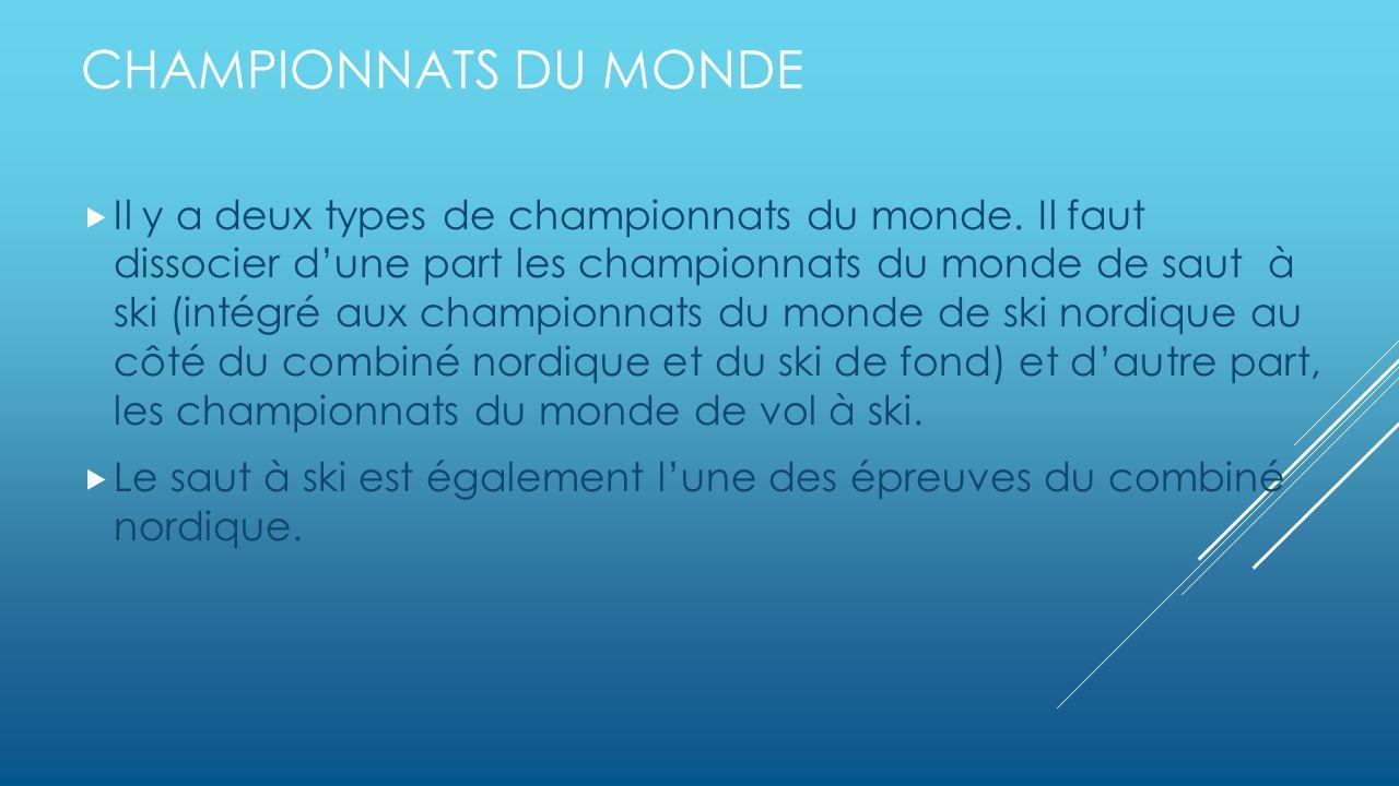 CHAMPIONNATS DU MONDE Il y a deux types de championnats du monde.