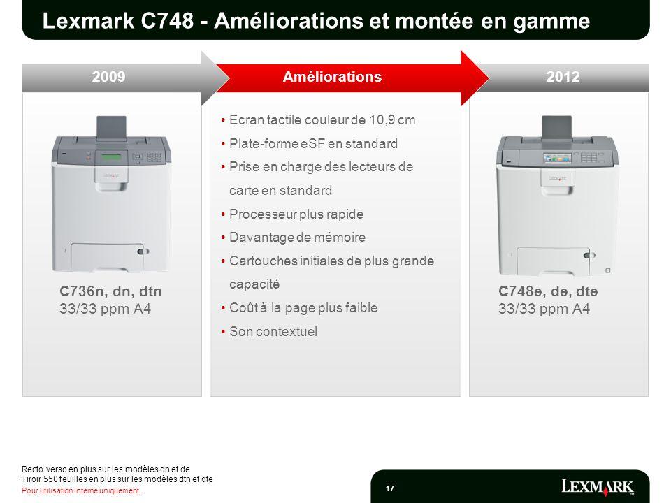 Pour utilisation interne uniquement. 17 Ecran tactile couleur de 10,9 cm Plate-forme eSF en standard Prise en charge des lecteurs de carte en standard
