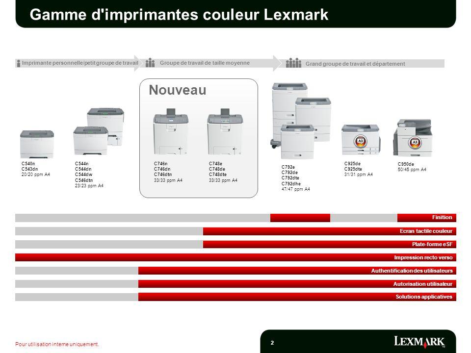 Pour utilisation interne uniquement. 2 Nouveau Gamme d'imprimantes couleur Lexmark C540n C543dn 20/20 ppm A4 C746n C746dn C746dtn 33/33 ppm A4 C748e C