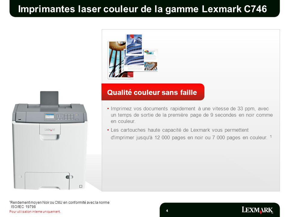 Pour utilisation interne uniquement. 4 Imprimantes laser couleur de la gamme Lexmark C746 Qualité couleur sans faille Imprimez vos documents rapidemen