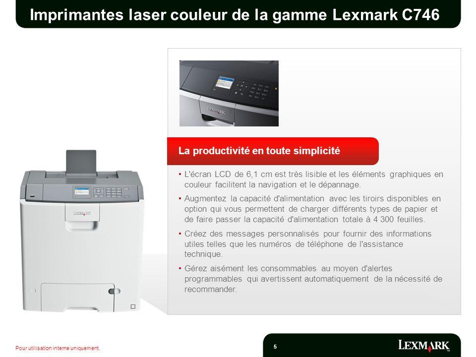 Pour utilisation interne uniquement. 5 Imprimantes laser couleur de la gamme Lexmark C746 La productivité en toute simplicité L'écran LCD de 6,1 cm es
