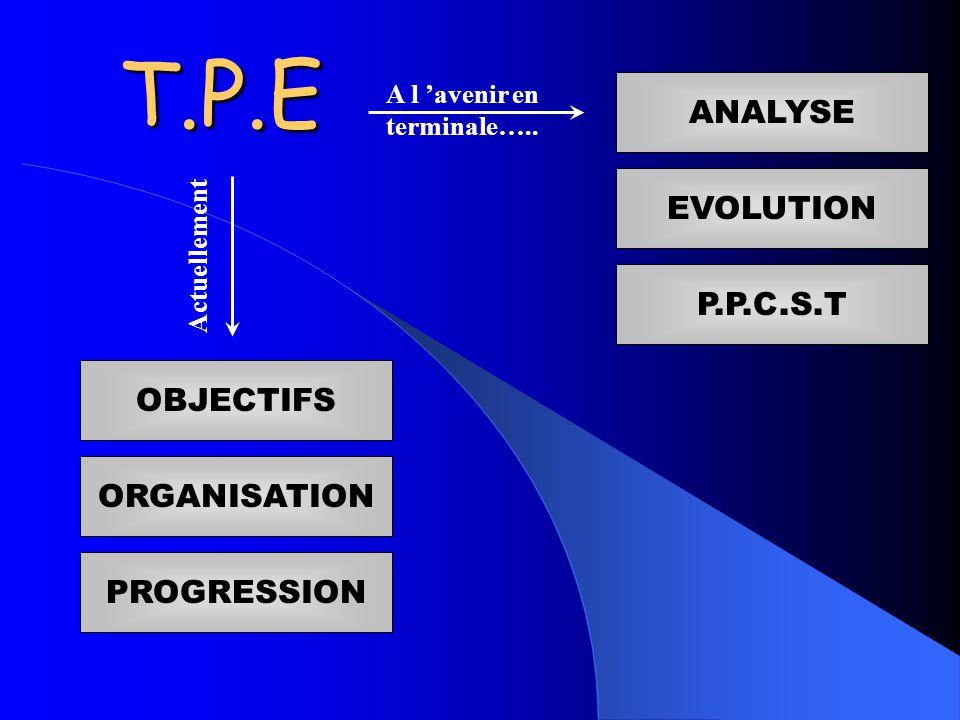 T.P.E ORGANISATION PROGRESSION OBJECTIFS Actuellement A l avenir en terminale…..