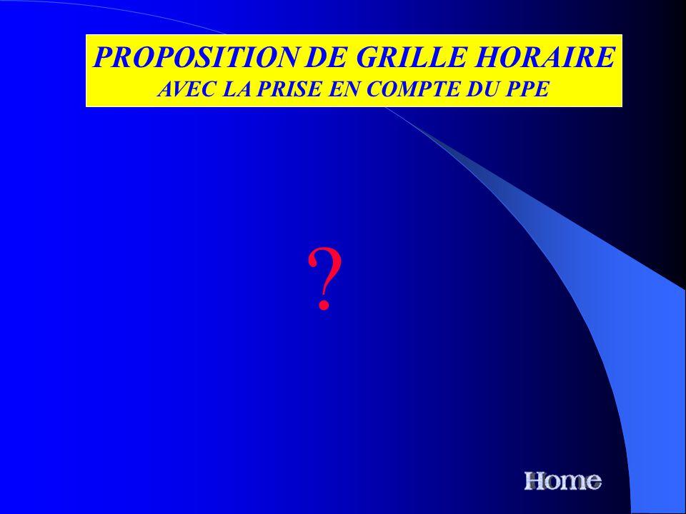 PROPOSITION DE GRILLE HORAIRE AVEC LA PRISE EN COMPTE DU PPE ?