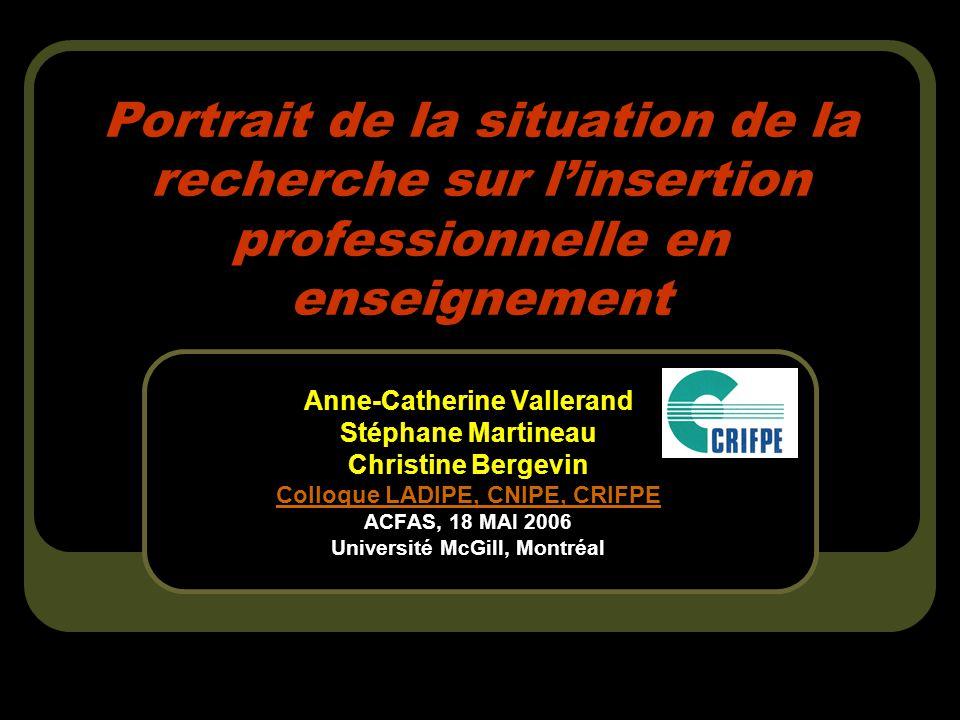 Portrait de la situation de la recherche sur linsertion professionnelle en enseignement Anne-Catherine Vallerand Stéphane Martineau Christine Bergevin Colloque LADIPE, CNIPE, CRIFPE ACFAS, 18 MAI 2006 Université McGill, Montréal
