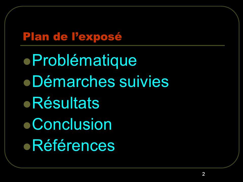 2 Plan de lexposé Problématique Démarches suivies Résultats Conclusion Références