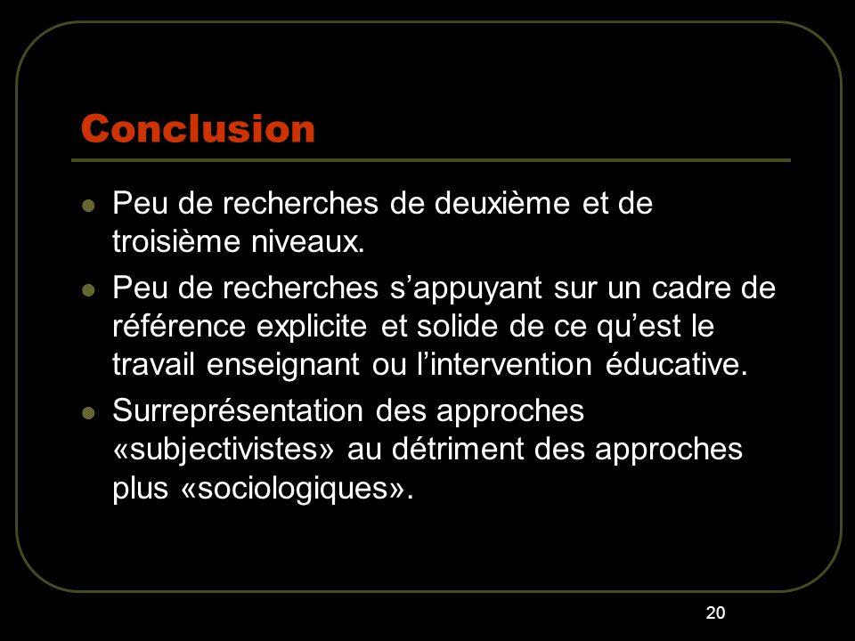 20 Conclusion Peu de recherches de deuxième et de troisième niveaux.
