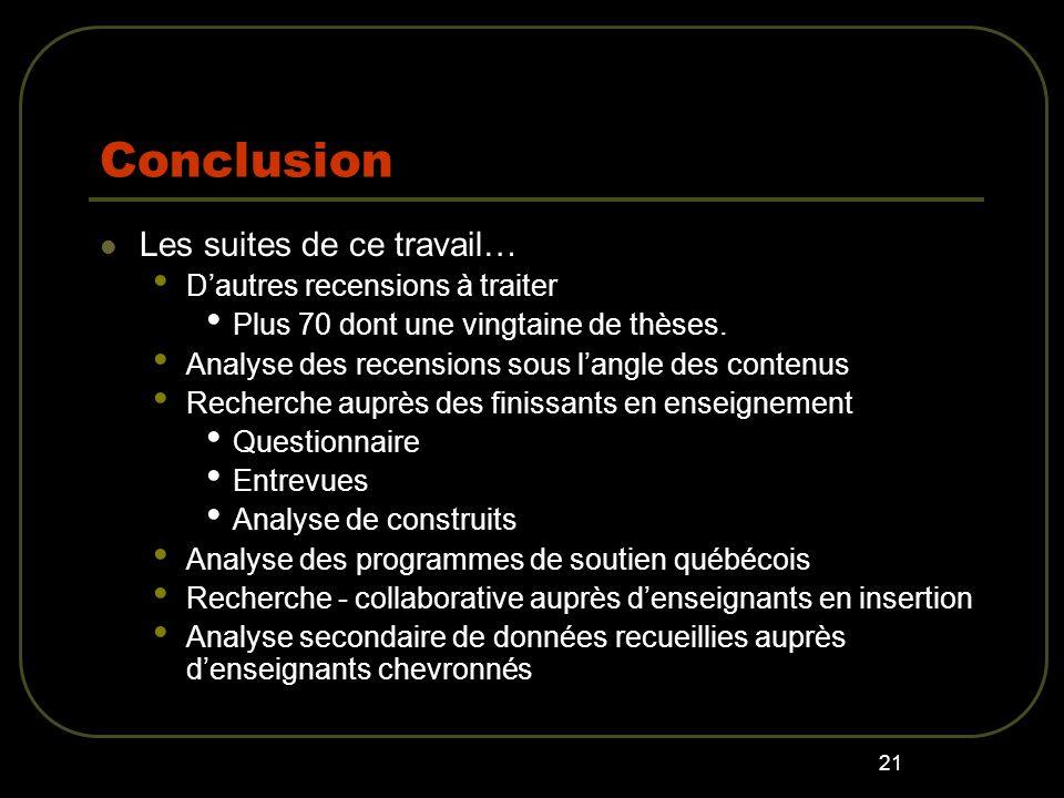 21 Conclusion Les suites de ce travail… Dautres recensions à traiter Plus 70 dont une vingtaine de thèses.