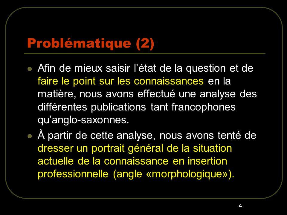 4 Problématique (2) Afin de mieux saisir létat de la question et de faire le point sur les connaissances en la matière, nous avons effectué une analyse des différentes publications tant francophones quanglo-saxonnes.