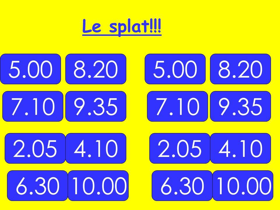 5.00 10.00 2.054.10 7.109.35 8.20 6.30 5.00 10.00 2.054.10 7.109.35 8.20 6.30 Le splat!!!