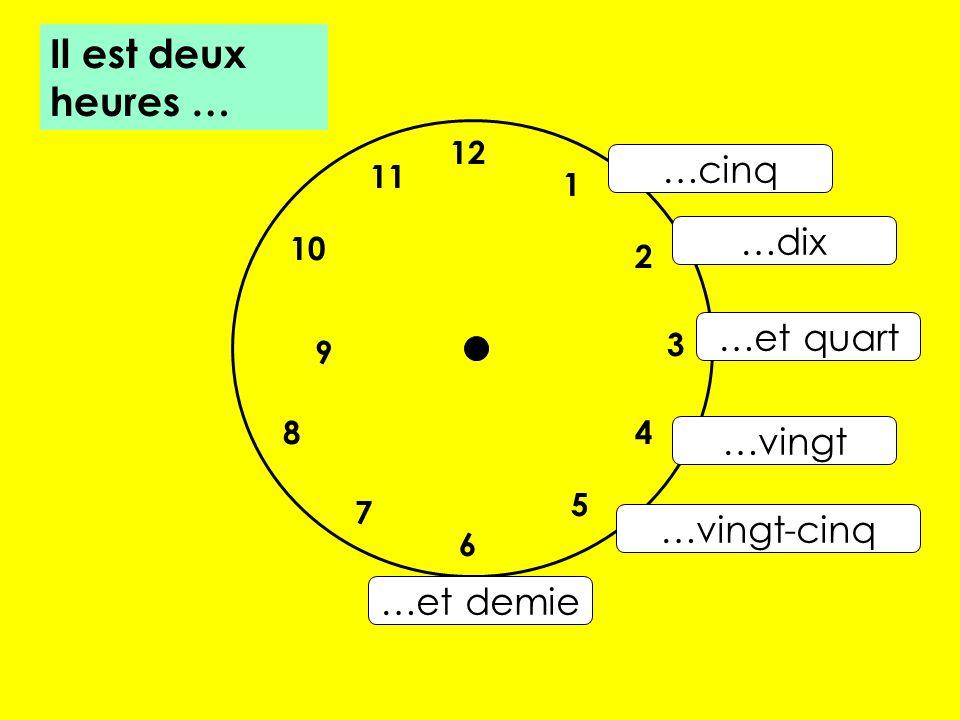 12 7 8 10 1 2 5 4 9 3 6 11 …cinq …dix …et quart …vingt …vingt-cinq …et demie Il est deux heures …