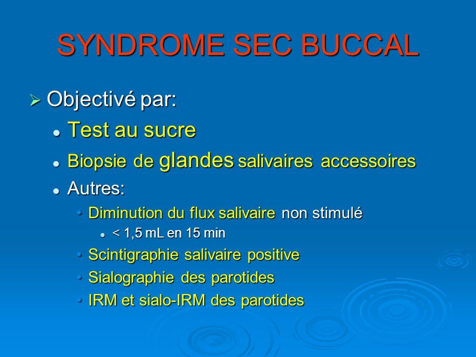 Objectivé par: Objectivé par: Test au sucre Test au sucre Biopsie de glandes salivaires accessoires Biopsie de glandes salivaires accessoires Autres: