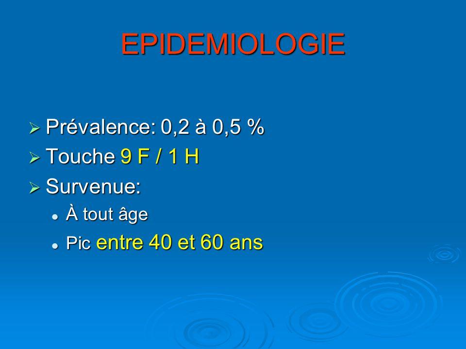 EPIDEMIOLOGIE Prévalence: 0,2 à 0,5 % Prévalence: 0,2 à 0,5 % Touche 9 F / 1 H Touche 9 F / 1 H Survenue: Survenue: À tout âge À tout âge Pic entre 40